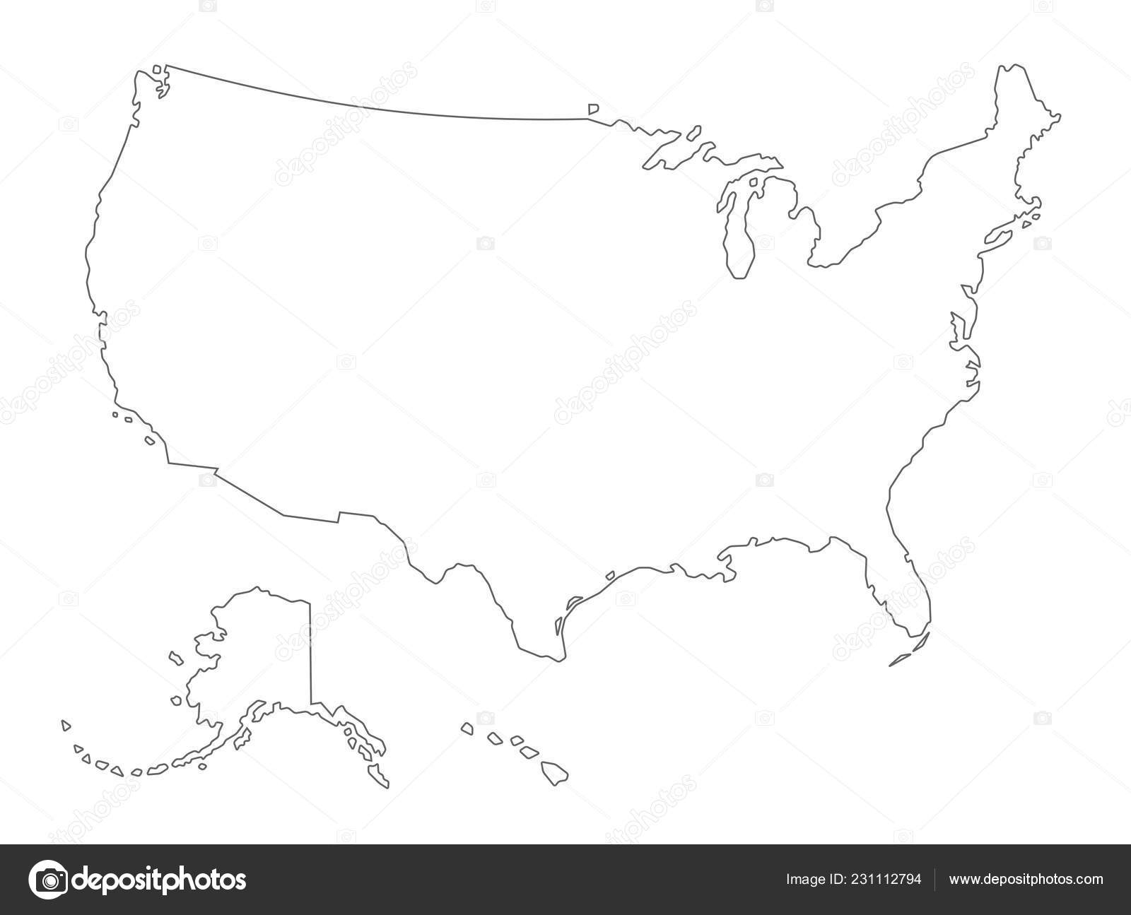 Vector Usa Outlined Map Alaska Hawaii White Background — Stock ...