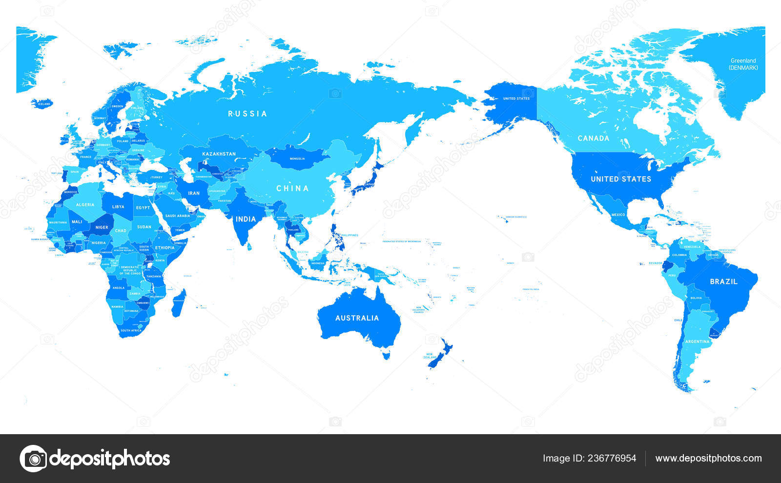 Political Blue World Map Pacific Centered Stock Vector