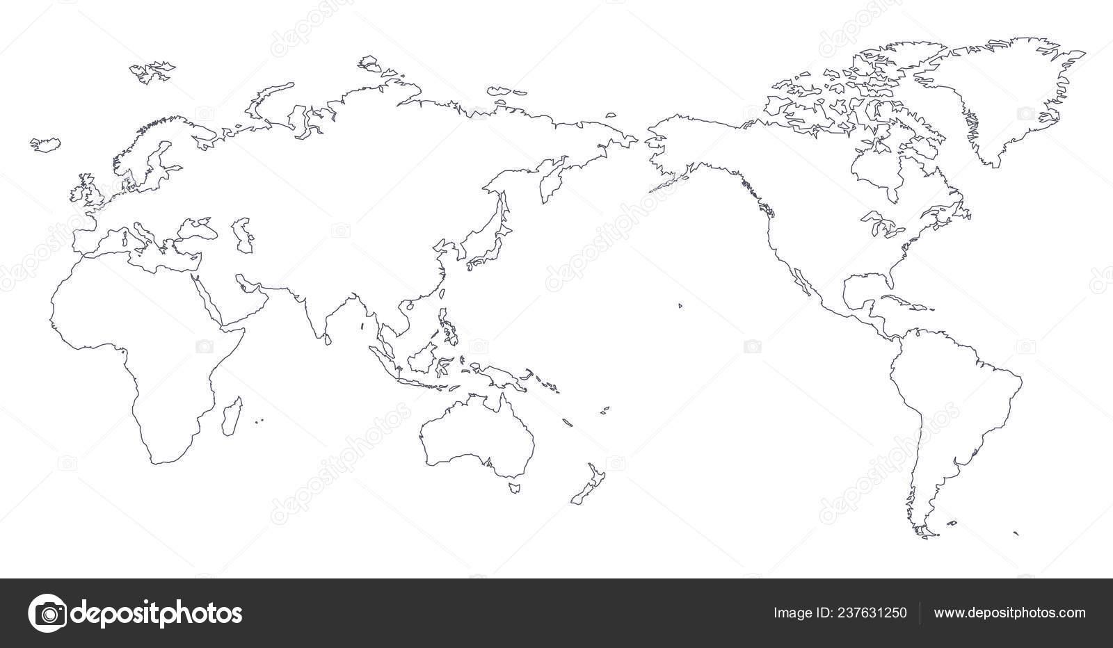 World map contour | World Map Outline Contour Silhouette ...