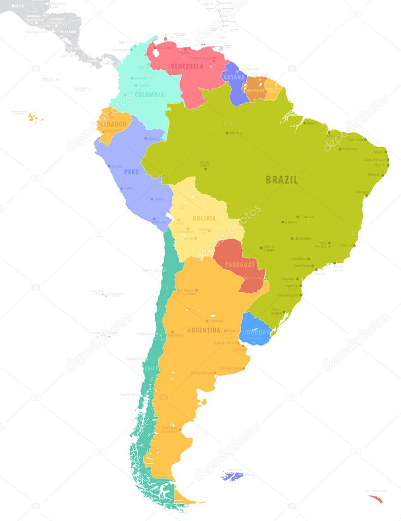 Political South American Map.Political South America Map Vector Illustration Isolated White