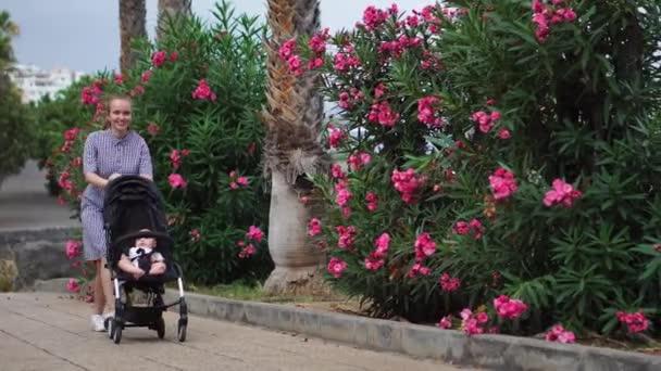 po celé délce mladá žena při pohledu do kočárku v parku