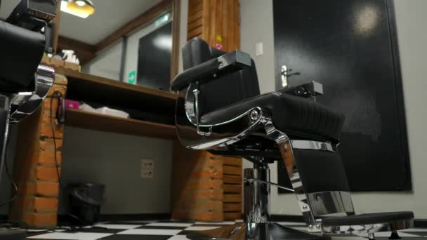 Sensational Interior Of The Mens Barber Shop With Brick Walls And Leather Chairs With Chrome Handles Ibusinesslaw Wood Chair Design Ideas Ibusinesslaworg