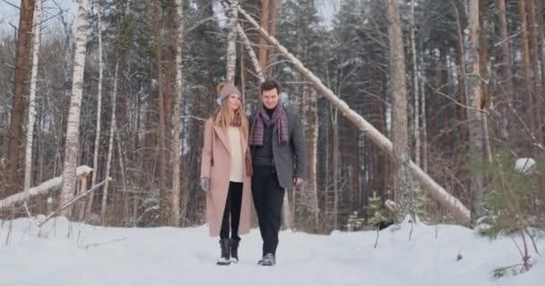 V zimě zasněžené lese mladí muži a ženy na sobě kabáty a šátky jsou procházky a baví. Milující pár se spolu stráví Valentýna.