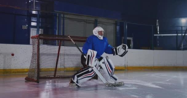 Profesionální hokejový brankář chytí puk po zasažení hráče hokejový zápas