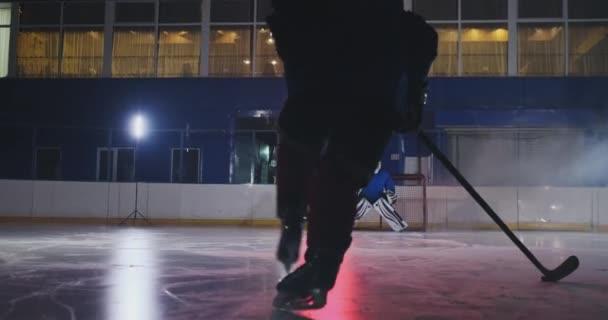 Profesionální hokejista útoky bránu a údery, ale brankář bije puk. Cíl v hokeji. Gól. Kulka pronikání