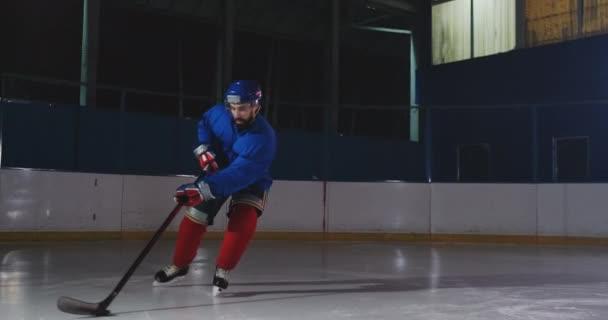 Profesionální hokejista útoky bránu a údery, ale brankář bije puk. Cíl v hokeji. PUK získal