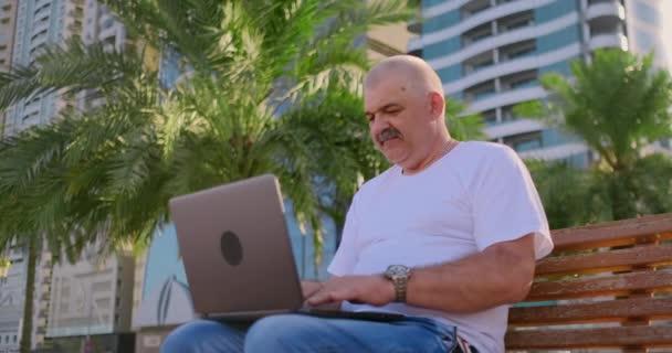 Senior sitzt im Park mit Palmen und Laptop und checkt im Sommer sein Bankkonto