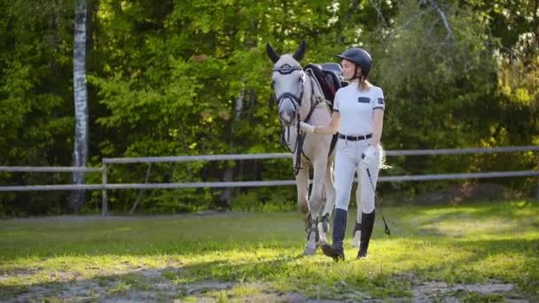 Spaziergang im Pferdeclub von Mädchen und Pferd