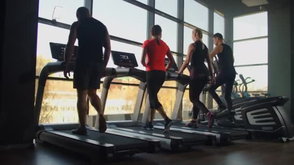 Healthy People running on machine treadmill at fitness gym, Work. Out concept. People doing cardio training on treadmill in gym.