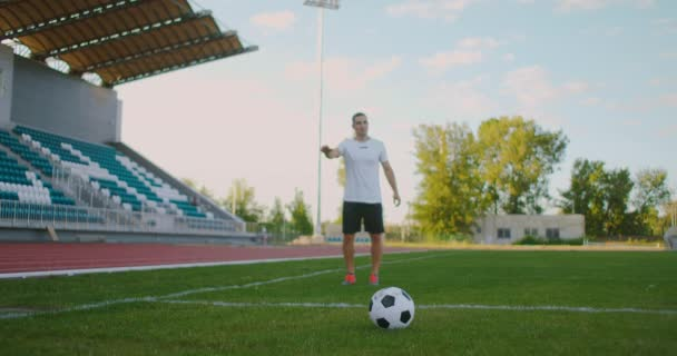Slow-Mo: Soccer Player Kicking A Ball. Low angle kick by soccer player. Professional Soccer Player About To Kick Football During Soccer Match