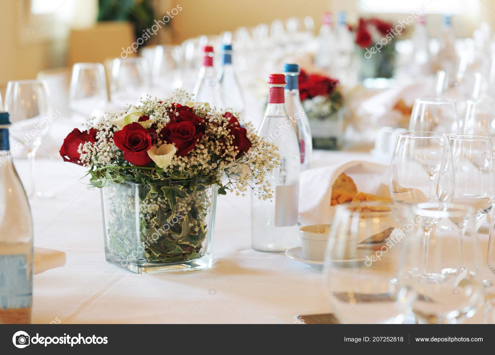 Hochzeit Tischdekoration Einem Restaurant Stockfoto C Annakhomulo