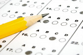 Test answer sheet with pencil. Examination test. Education conce
