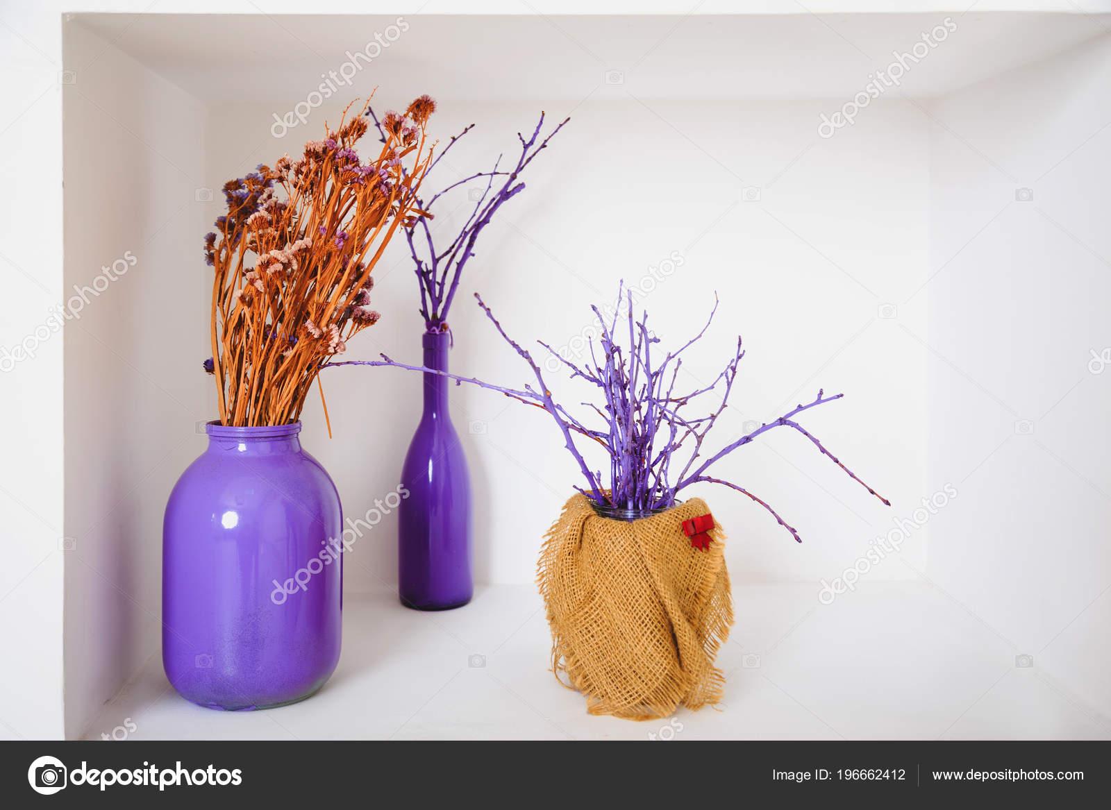 Arte Decoracion Violeta Marron Diseno Diseno Plantas Secas En - Plantas-secas-decoracion