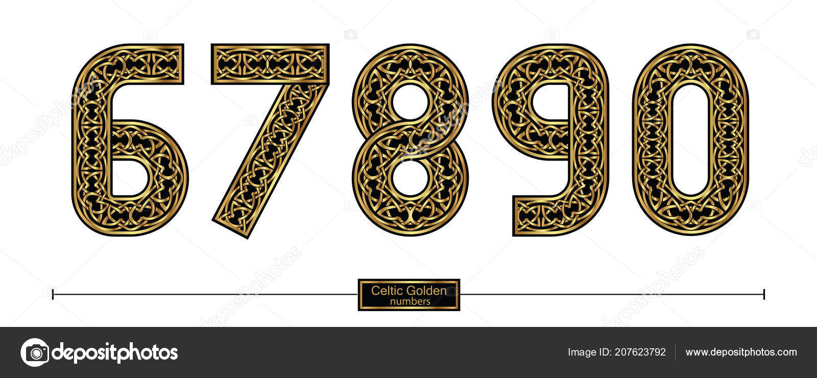Vector Graphic Numbers Set Celtic Golden Style