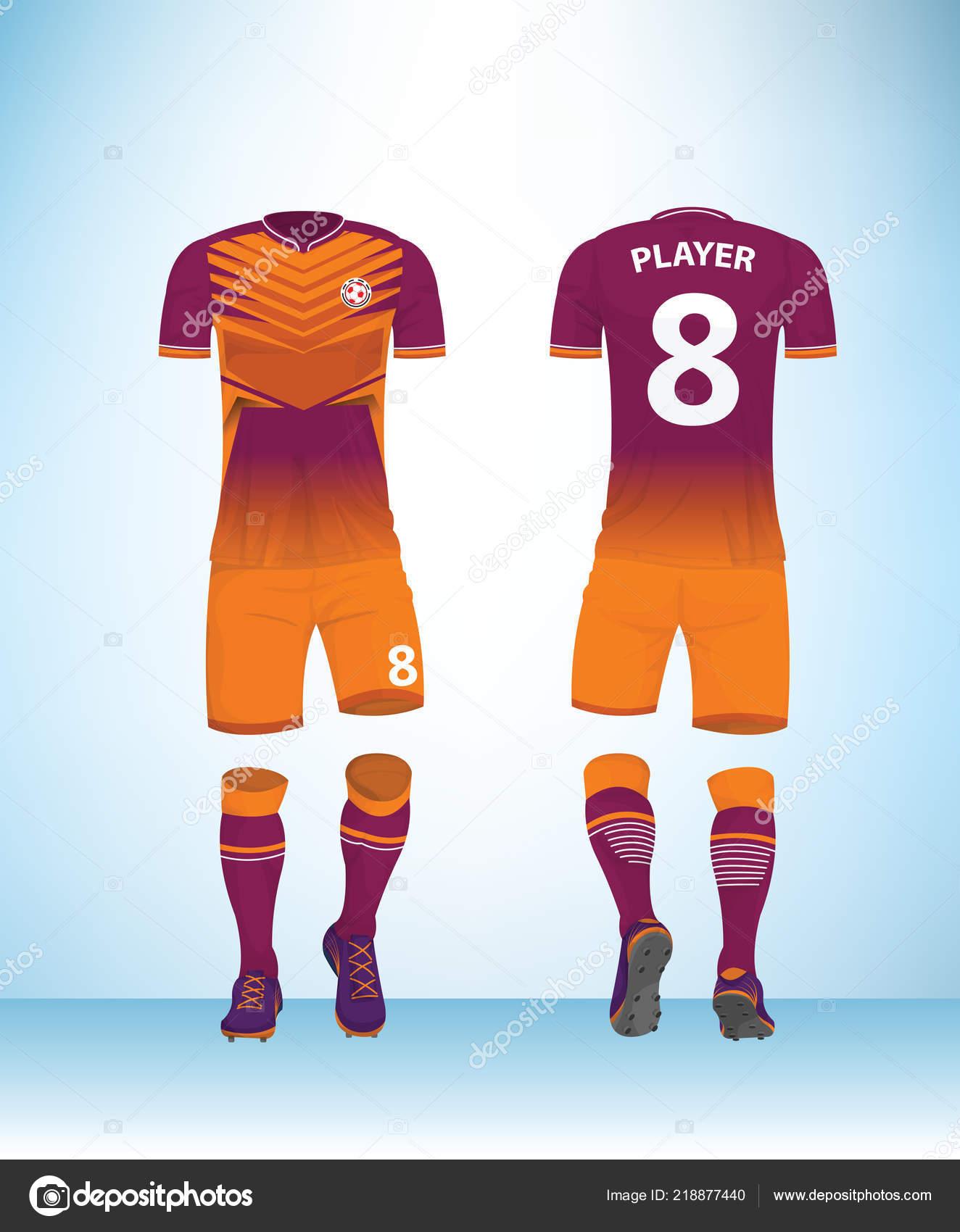 51d585044 Soccer Jersey Football Shirt Mock Front Back View Pink Orange — Stock Vector
