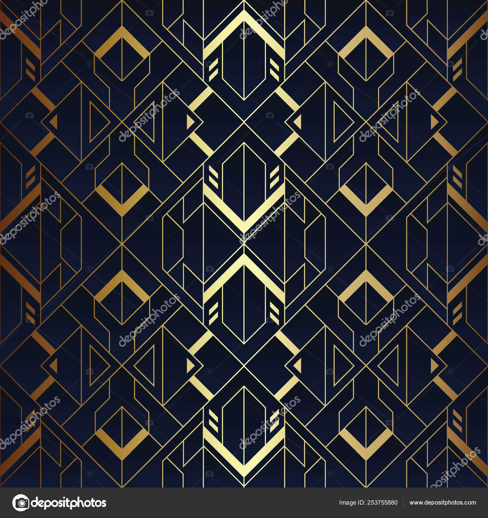 Abstract Art Luxury Dark Seamless Blue And Golden Pattern