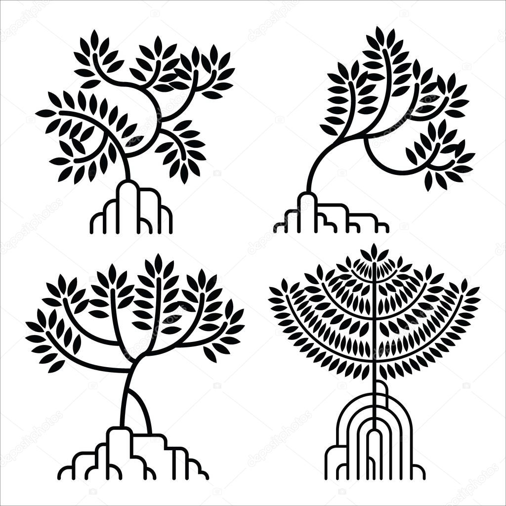 mangrove tree silhouette logo set vector illustration premium vector in adobe illustrator ai ai format encapsulated postscript eps eps format mangrove tree silhouette logo set