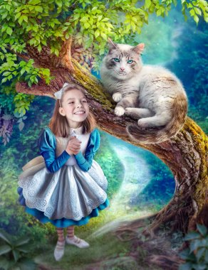 Photomanipulation Alice in Wonderland and Cheshire Cat