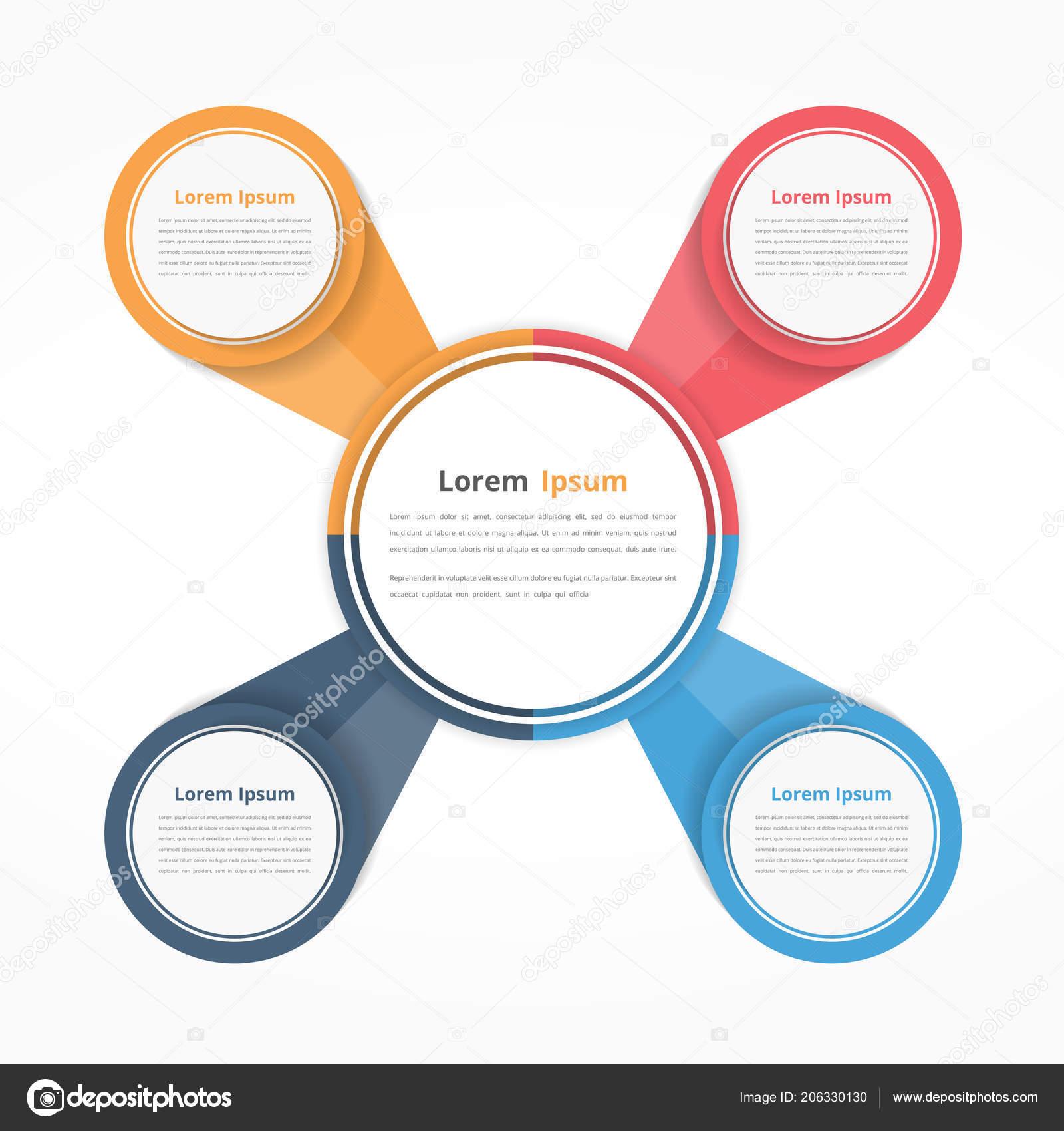 circle diagram four elements steps options flowchart workflow