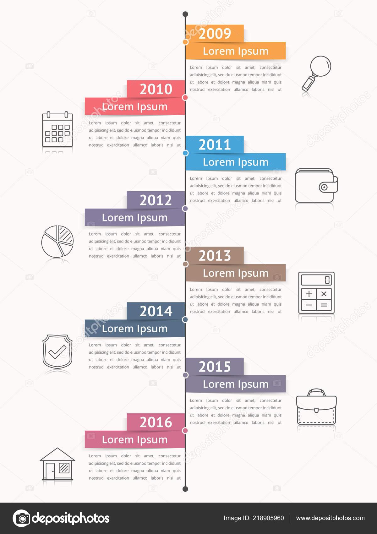 Cronograma Vertical Infográficos Diagrama Modelo Processo