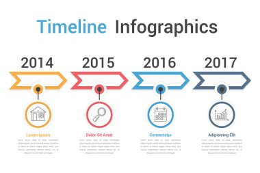 Timeline infographics template with arrows, workflow or process diagram, vector eps10 illustration icon
