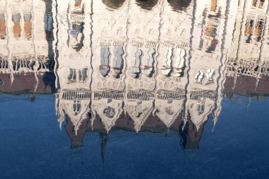Budapest. Hungarian parliament building reflected in water