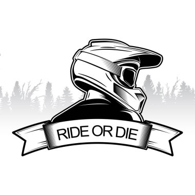 Extreme sport logo design. Motocross Downhill Mountain Biking logo template. Side view of man with integral helmet.