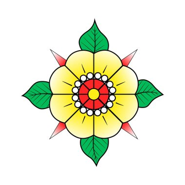 Flower with leaves old school traditional classic tattoo. Yellow red green. Hand Drawn Black Outline Doodle Logo Icon. Stock vector illustration isolated on white background. icon