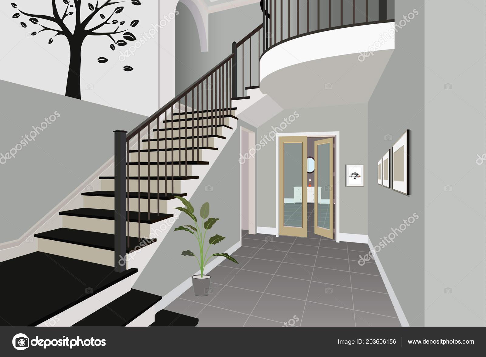 Vintage interieur van de hal met een trap ontwerp van moderne