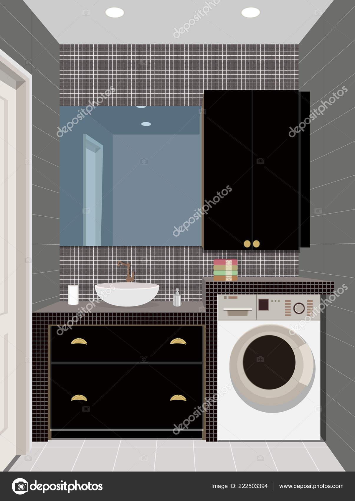 Schwarz Bad innere Hintergrund mit Möbeln. Modernes Bad ...