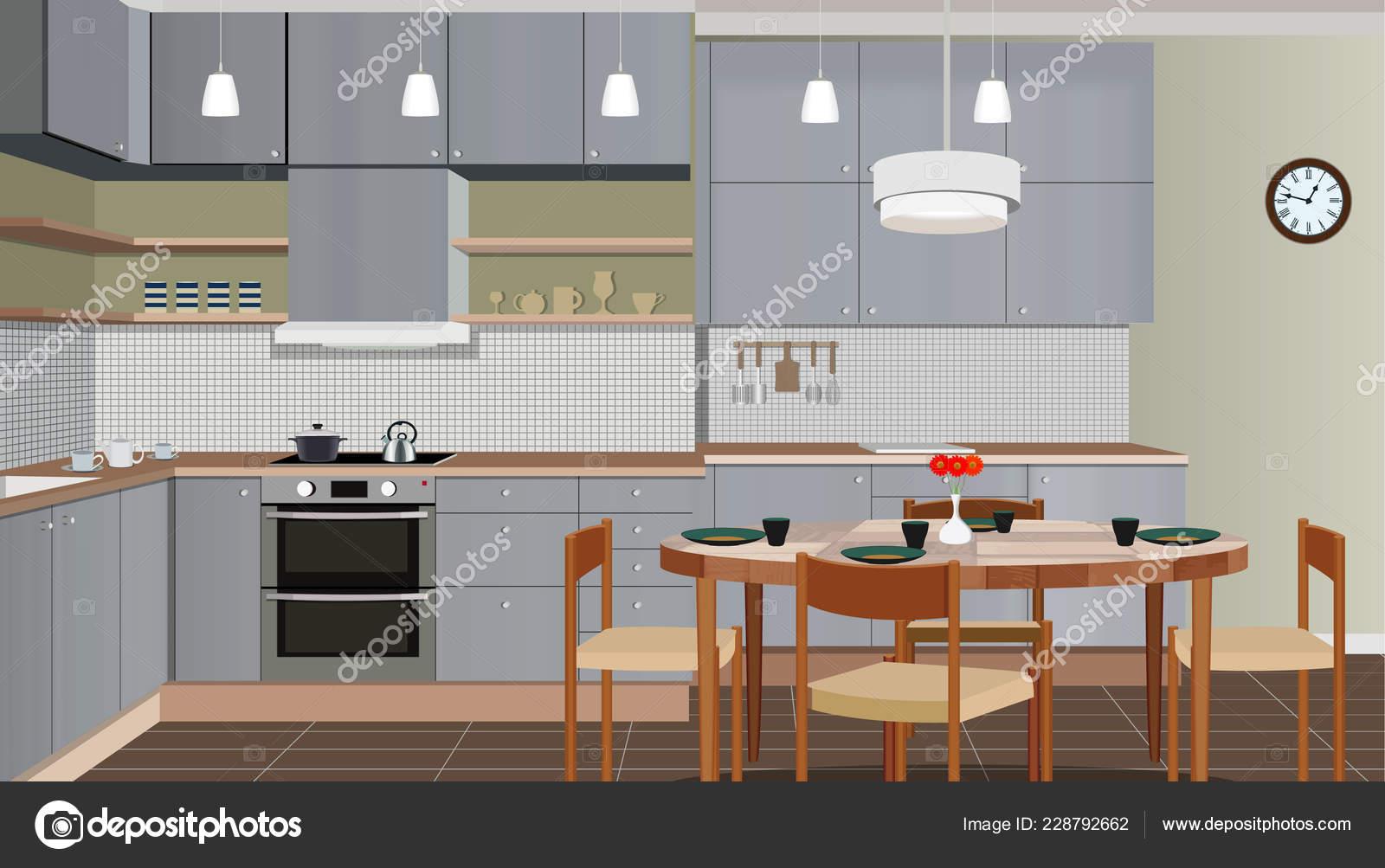 Fondo interior de la cocina con muebles. Diseño de cocina moderna ...