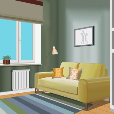 Illustration of a room with window, yellow sofa, vase, lamp, picture . Interior of the room with furniture. Living room illustration.