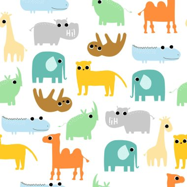 Seamless pattern with funny wild animals. Kids trendy print. Vector hand drawn ilustration.