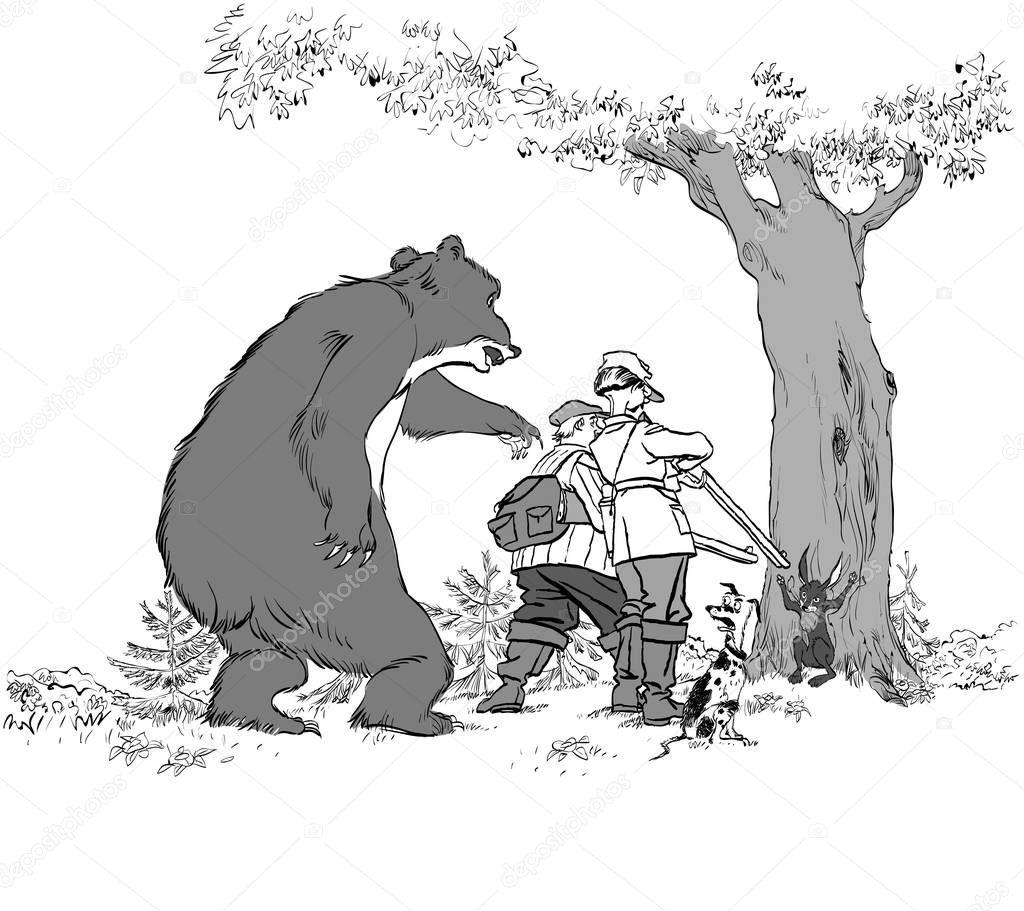 Картинка про медведя и охотника, днем рождения