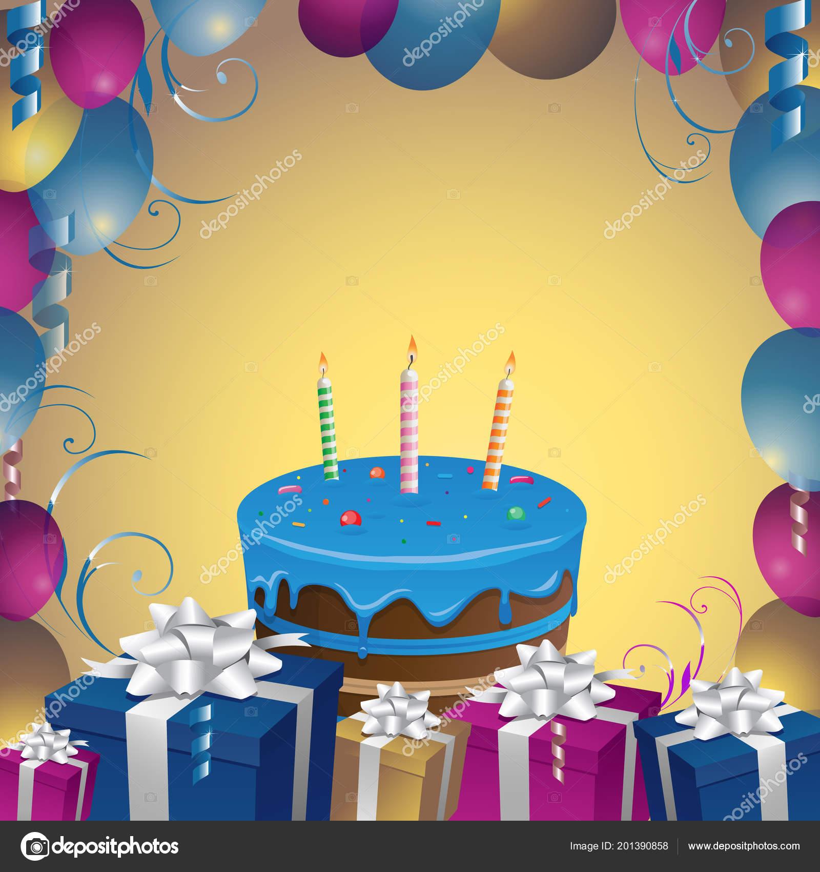 Schone Kuchen Und Geschenke Geburtstag Hintergrund Vektor
