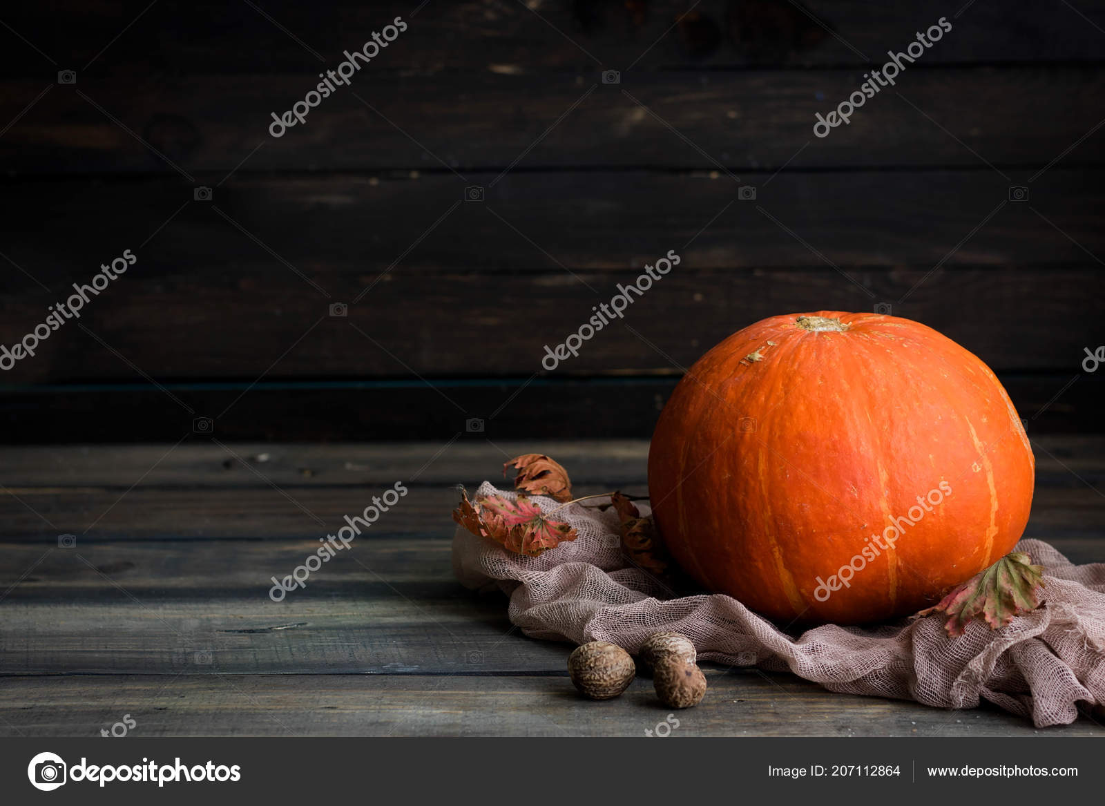 Autumn Still Life Pumpkin Leaves Nutmeg Dark Rustic Background Stock Photo