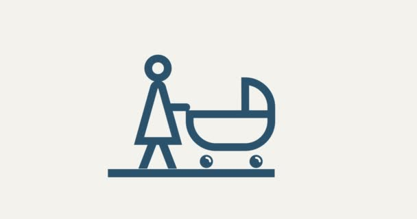 madre di pittogramma di animazione con passeggino