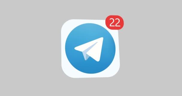 samara, Russischer Verband - 4. August 2018: redaktionelle Animation. Telegramm-Logo-Symbol mit Gegennachricht, Follower. Telegramme einer der beliebtesten Instant Messenger.