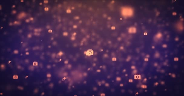 Loopable animation modern moving orange medical icons background