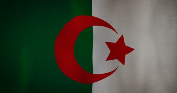 Algeria flag fabric texture waving in the wind