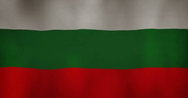 Bulgaria flag fabric texture waving in the wind.