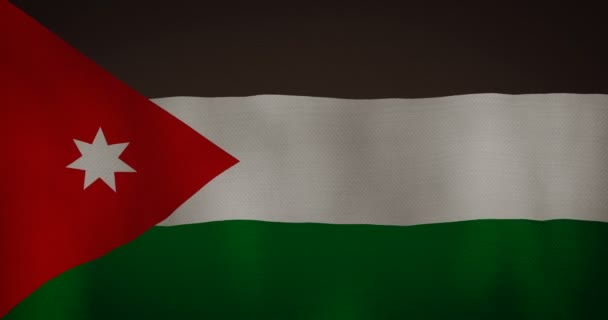 animation - modern Jordan flag fabric texture waving in the wind. 4K motion flag footage video