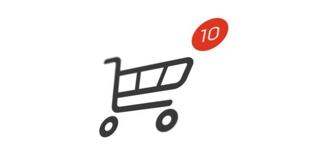 ikona nákupního košíku animace s čítačem si on-line na bílém pozadí. 4 k záběry s Alfa podkladu