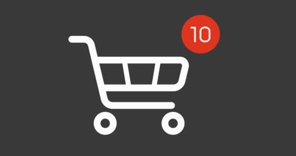 ikona nákupního košíku s protiproudem si on-line na bílém pozadí