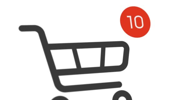 animation shopping cart icon with counter added online commodity on white background. 4k footage with alpha matte
