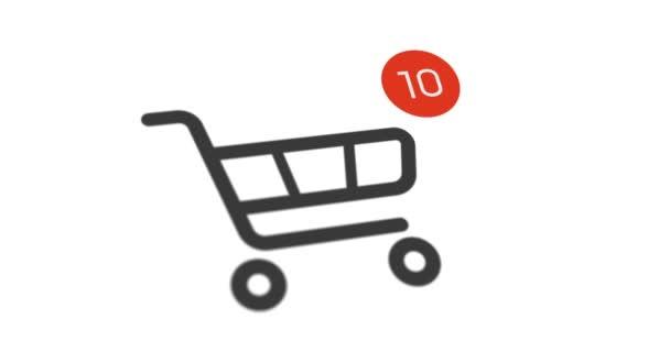 bevásárló kosár ikonra a számláló hozzá online árucikk fehér háttér