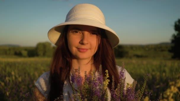Portrait Woman with Bouquet of Field Flowers