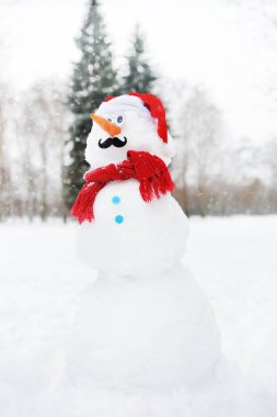 Handmade snowman with a scarf, Santa Claus hat, carrot nose and mustache in a snowy park.