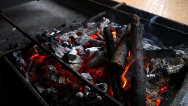 Palivové dříví v grilu