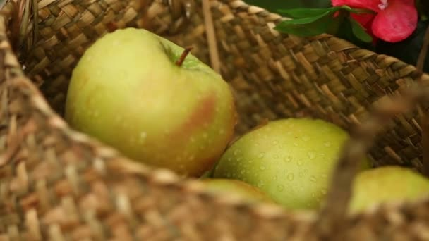 Basket with green apples